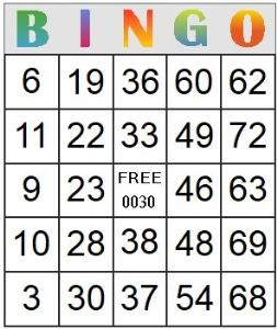 Bingo Card 30   Photos and Images   Entertainment