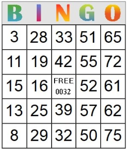 Bingo Card 32 | Photos and Images | Entertainment
