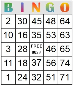 Bingo Card 33 | Photos and Images | Entertainment