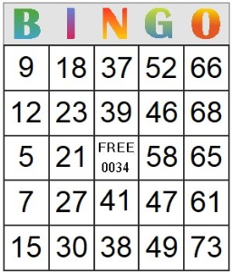 bingo card 34