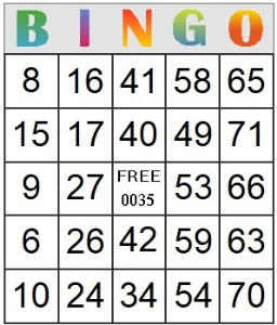 Bingo Card 35 | Photos and Images | Entertainment
