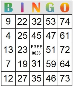 Bingo Card 36 | Photos and Images | Entertainment