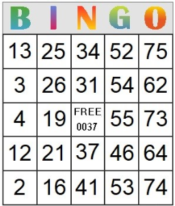 Bingo Card 37 | Photos and Images | Entertainment