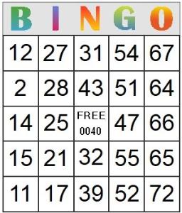 Bingo Card 40 | Photos and Images | Entertainment