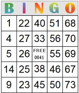 bingo card 41