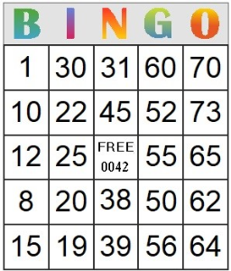 bingo card 42