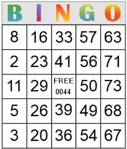 Bingo Card 44 | Photos and Images | Entertainment