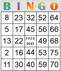 Bingo Card 45 | Photos and Images | Entertainment