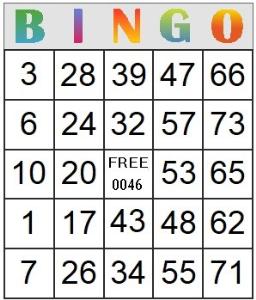 bingo card 46