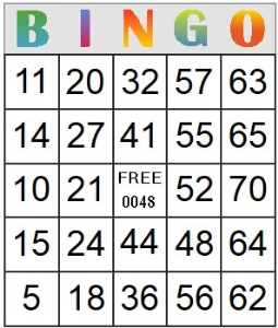 Bingo Card 48 | Photos and Images | Entertainment