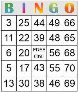 Bingo Card 50 | Photos and Images | Entertainment