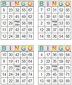 Bingo Multi Card 109-112 | Photos and Images | Entertainment