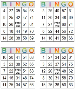 Bingo Multi Card 121-124   Photos and Images   Entertainment