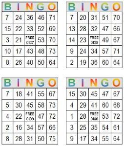 Bingo Multi Card 137-140   Photos and Images   Entertainment