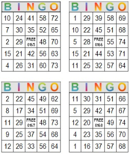 bingo multi card 165-168