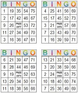 bingo multi card 177-180