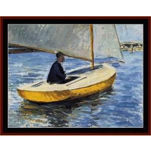 yellow boat - caillebotte cross stitch pattern by cross stitch collectibles