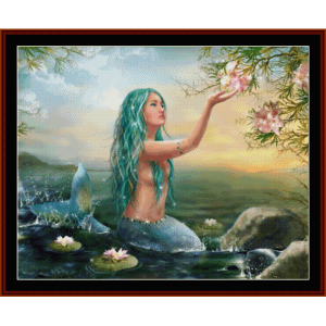 Mermaid in the Sunset - Fantasy cross stitch pattern by Cross Stitch Collectibles | Crafting | Cross-Stitch | Wall Hangings