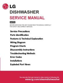 lg ld 14aw2 ld-14at2 dishwasher service manual and troubleshooting guide