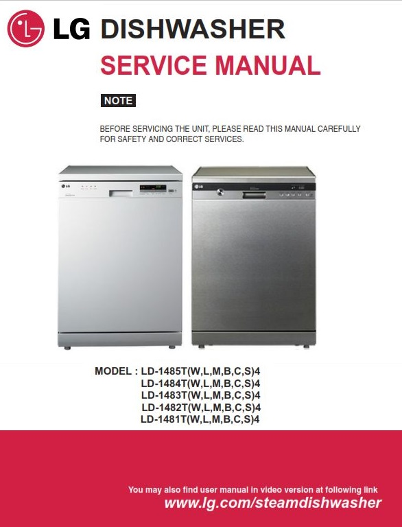 First Additional product image for - LG LD-1483T4 1484T4 1485T4 1482S4 1482T4 1484W4 Dishwasher Service Manual