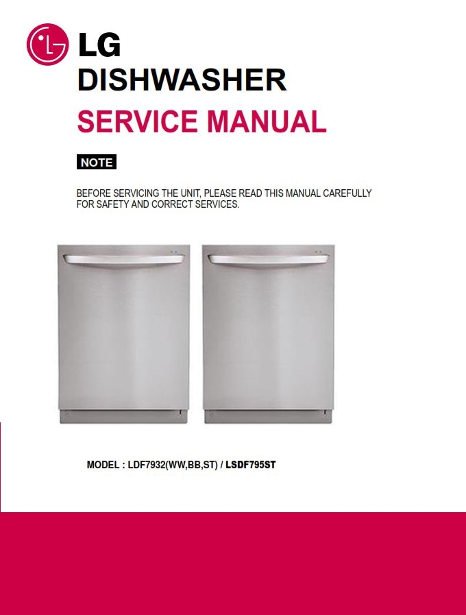 LG LDF7932ST Dishwasher Service Manual and Troubleshooting Guide | eBooks | Technical