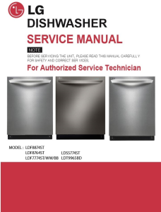 lg ldf8874st dishwasher service manual and troubleshooting guide