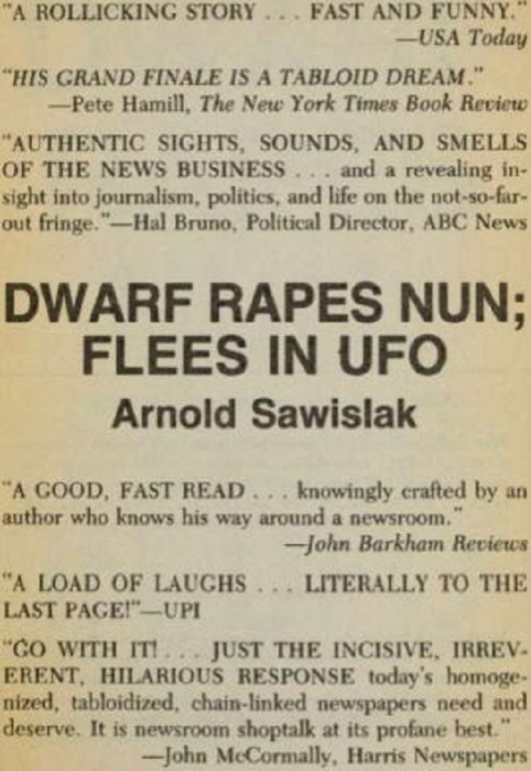 Second Additional product image for - Dwarf Rapes Nun; Flees in UFO: A Novel of Journalism