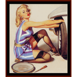 Pin-Up Changing Tire - Vintage Poster cross stitch pattern by Cross Stitch Collectibles | Crafting | Cross-Stitch | Wall Hangings