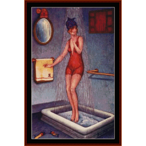 Pin-Up in Shower - Vintage Poster cross stitch pattern by Cross Stitch Collectibles | Crafting | Cross-Stitch | Wall Hangings