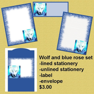 wolf and blue rose set