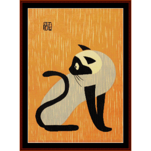 early cat - asian art cross stitch pattern by cross stitch collectibles