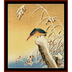 Kingfisher on Snowy Stump - Asian Art cross stitch pattern by Cross Stitch Collectibles | Crafting | Cross-Stitch | Other