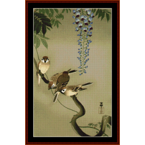 sparrows and wisteria - asian art cross stitch pattern by cross stitch collectibles