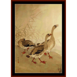 three geese - asian art cross stitch pattern by cross stitch collectibles