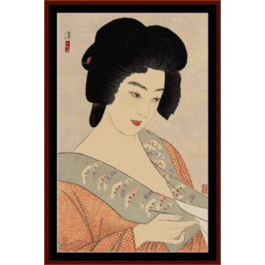 the geisha ichimaru - asian art cross stitch pattern by cross stitch collectibles