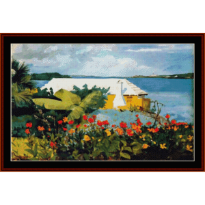 flower garden in bermuda - winslow homer cross stitch pattern by cross stitch collectibles