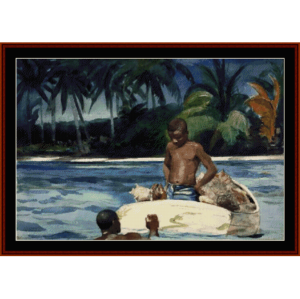 west india divers - winslow homer cross stitch pattern by cross stitch collectibles