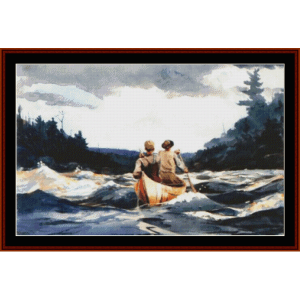 canoe in the rapids - winslow homer cross stitch pattern by cross stitch collectibles