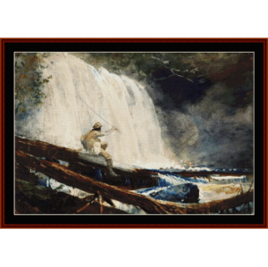 waterfall in the adirondacks - winslow homer cross stitch pattern by cross stitch collectibles