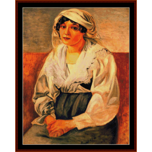 italian girl - derain cross stitch pattern by cross stitch collectibles