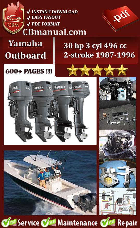 Yamaha Outboard 30 hp 3 cyl 496 cc 2-stroke 1987-1996 Service Manual