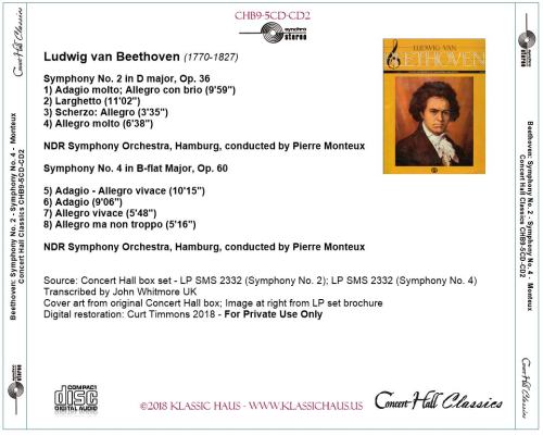 First Additional product image for - Beethoven: Symphonies No. 2 & 4 - NDR Symphony Orchestra, Hamburg/Pierre Monteux