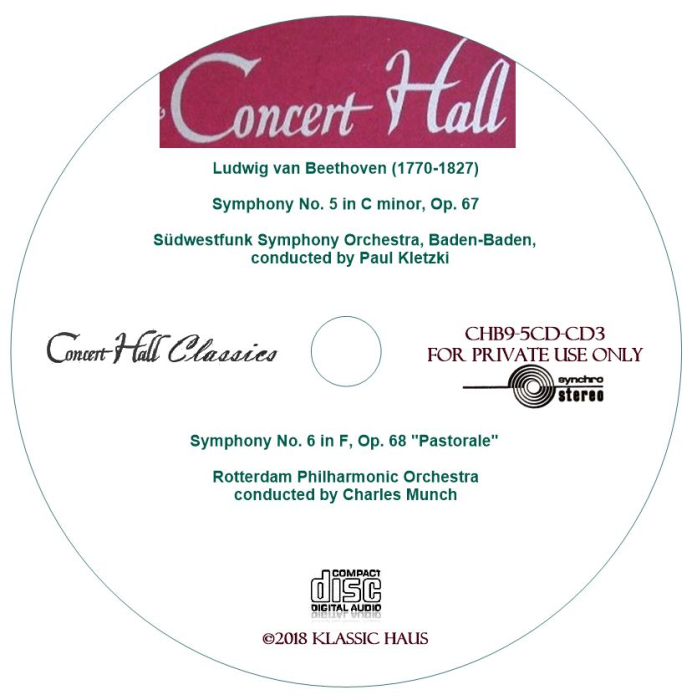 Third Additional product image for - Beethoven: Symphonies No. 5 & 6 - Paul Kletzki/Charles Munch