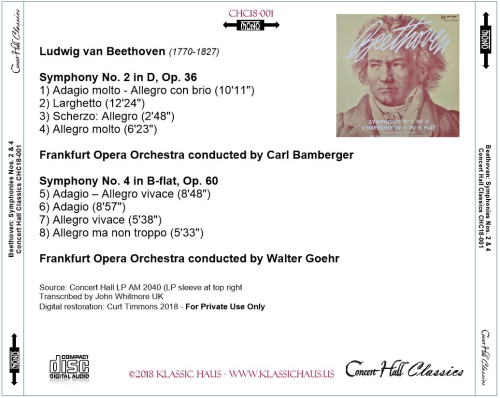 First Additional product image for - Beethoven: Symphonies No. 2 & 4 -Frankfurt Opera Orchestra - Bamburger/Goehr