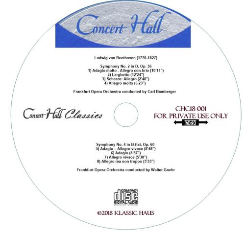 Third Additional product image for - Beethoven: Symphonies No. 2 & 4 -Frankfurt Opera Orchestra - Bamburger/Goehr