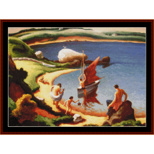 beach at martha's vineyard - americana cross stitch pattern by cross stitch collectibles