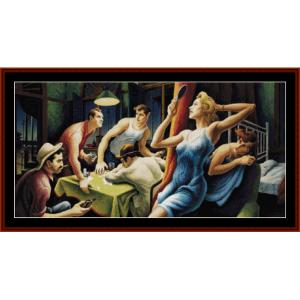 poker night - americana cross stitch pattern by cross stitch collectibles