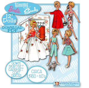 tammy-4338-doll clothes pattern circa 1950-60s gown, dress, capris, skirt. top, midriff, coat, closet! pdf