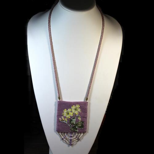 "First Additional product image for - Pattern-Amulet Bag ""Wood Sorrel"""
