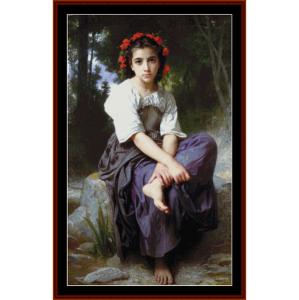 At the Edge of the Brook - Bouguereau cross stitch pattern by Cross Stitch Collectibles | Crafting | Cross-Stitch | Wall Hangings